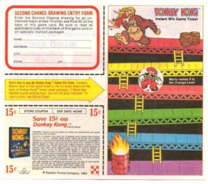 Donkey Kong Cereal Instant Win Game Ticket Front
