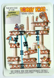 Donkey Kong Cereal Rub-off Card 1