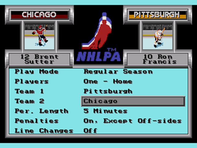 NHLPA Hockey '93 Main Menu