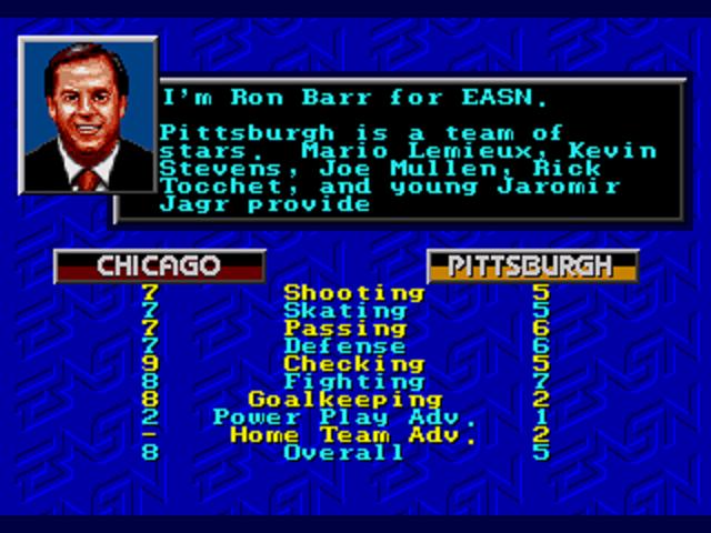 NHLPA Hockey '93 Team Comparison