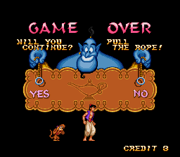 Disney's Aladdin SNES - Game Over