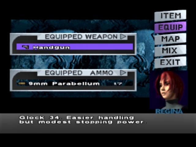 Dino Crisis - Menu Screen