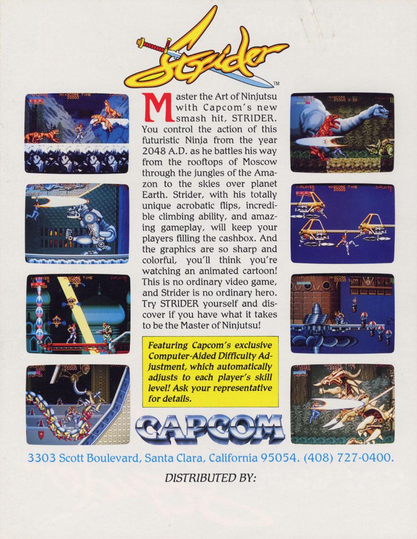 Strider Arcade Flyer Back