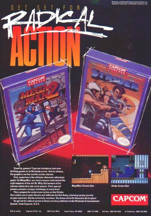 Strider & Mega Man 2 Advertisement