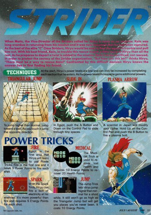 Strider NES Nintendo Power