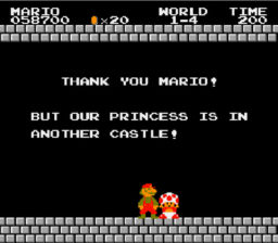 Super Mario Bros Princess is in another castle